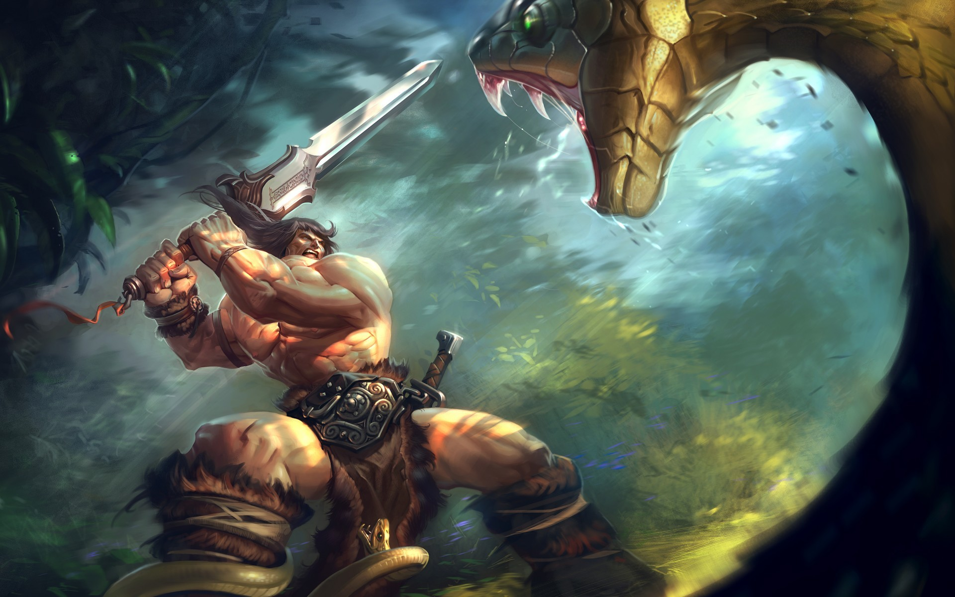 snakes fantasy art Conan the Barbarian swords wallpaper background 1920x1200