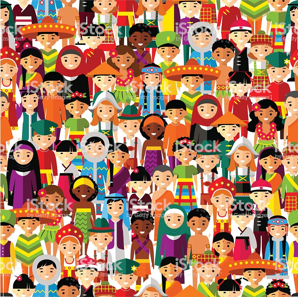 Seamless Background With Set Of Multicultural National Children 1024x1023