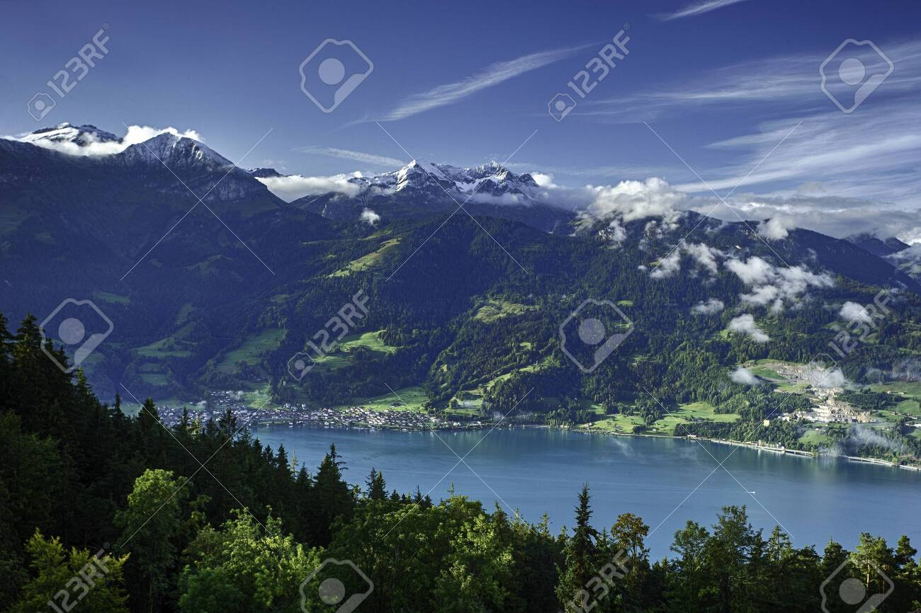 View Of Lake Thun And Bernese Alps Including Jungfrau Eiger 1300x866