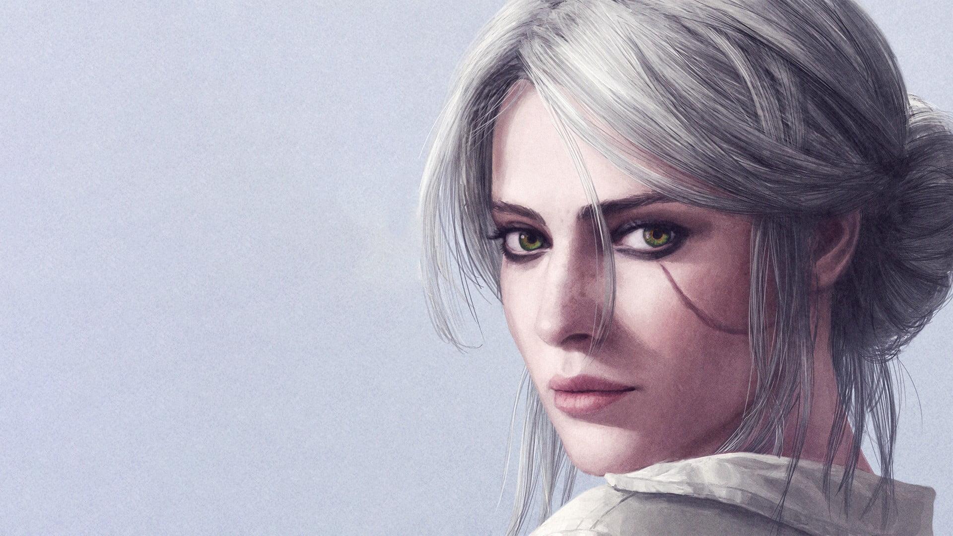Gray haired woman drawing Ciri artwork Cirilla Fiona Elen 1920x1080