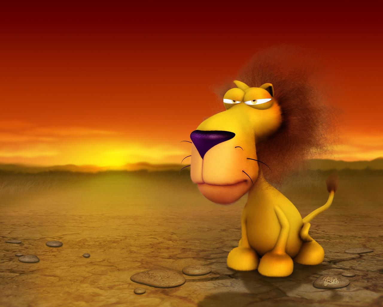 Funny 3D Cartoon Wallpaper Lion 1280x1024