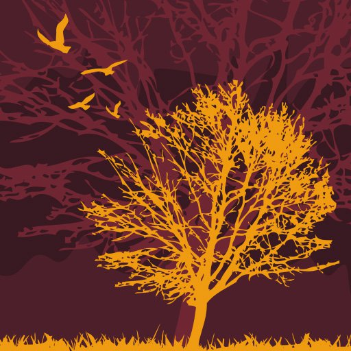 Tree and birds Vector Graphic decoration wallpaper 512x512