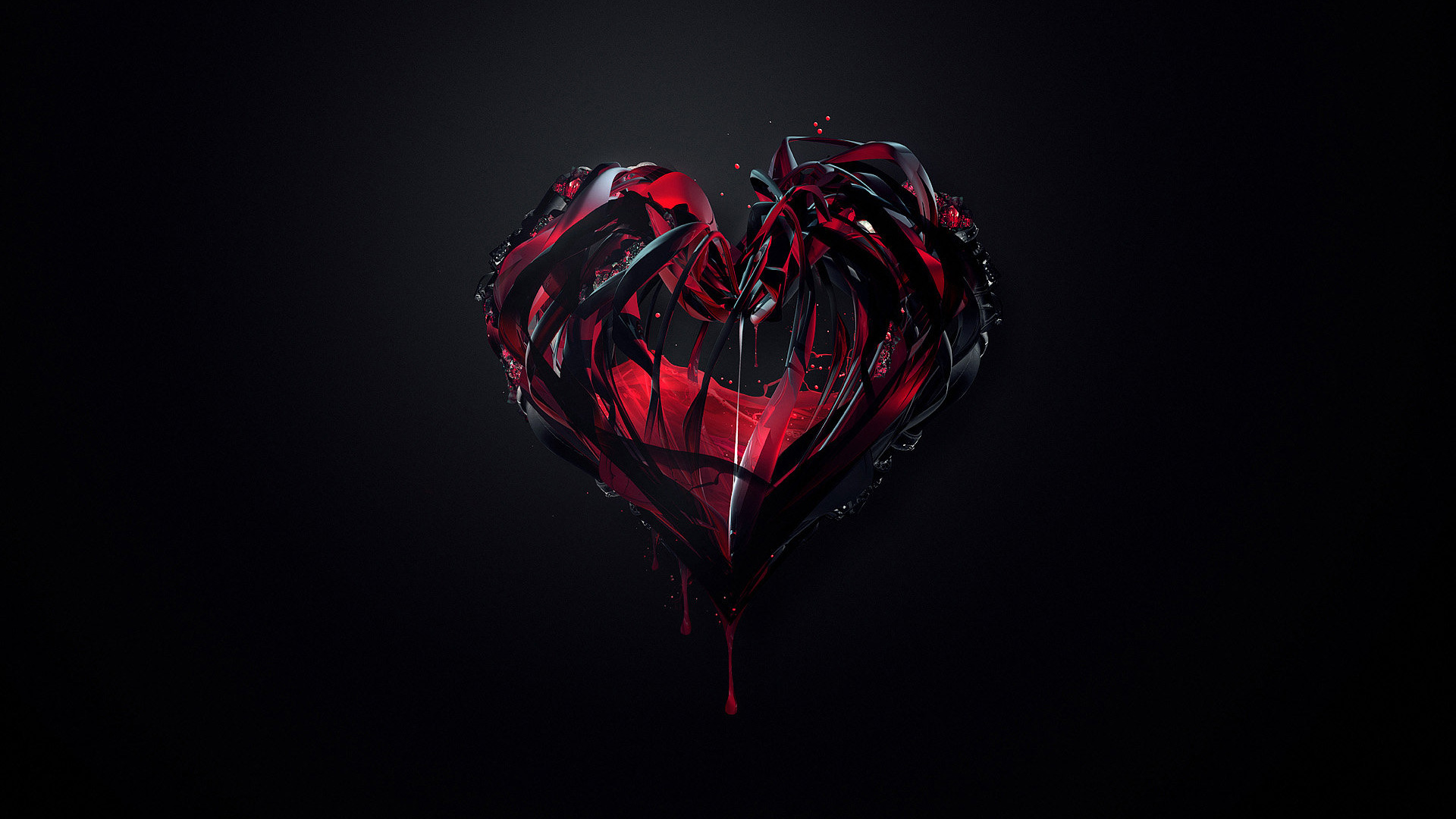 Red Heart Love Wallpaper: Red And Black Heart Wallpaper