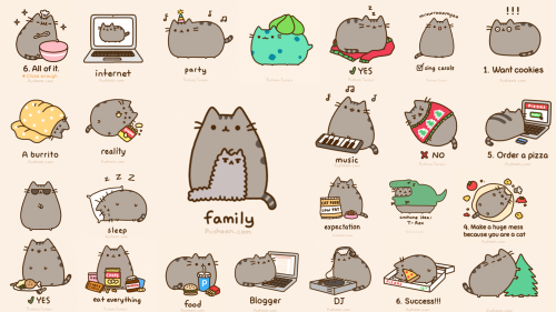 tagged as pusheen cat cute bg background computerbackground wallpaper 500x281