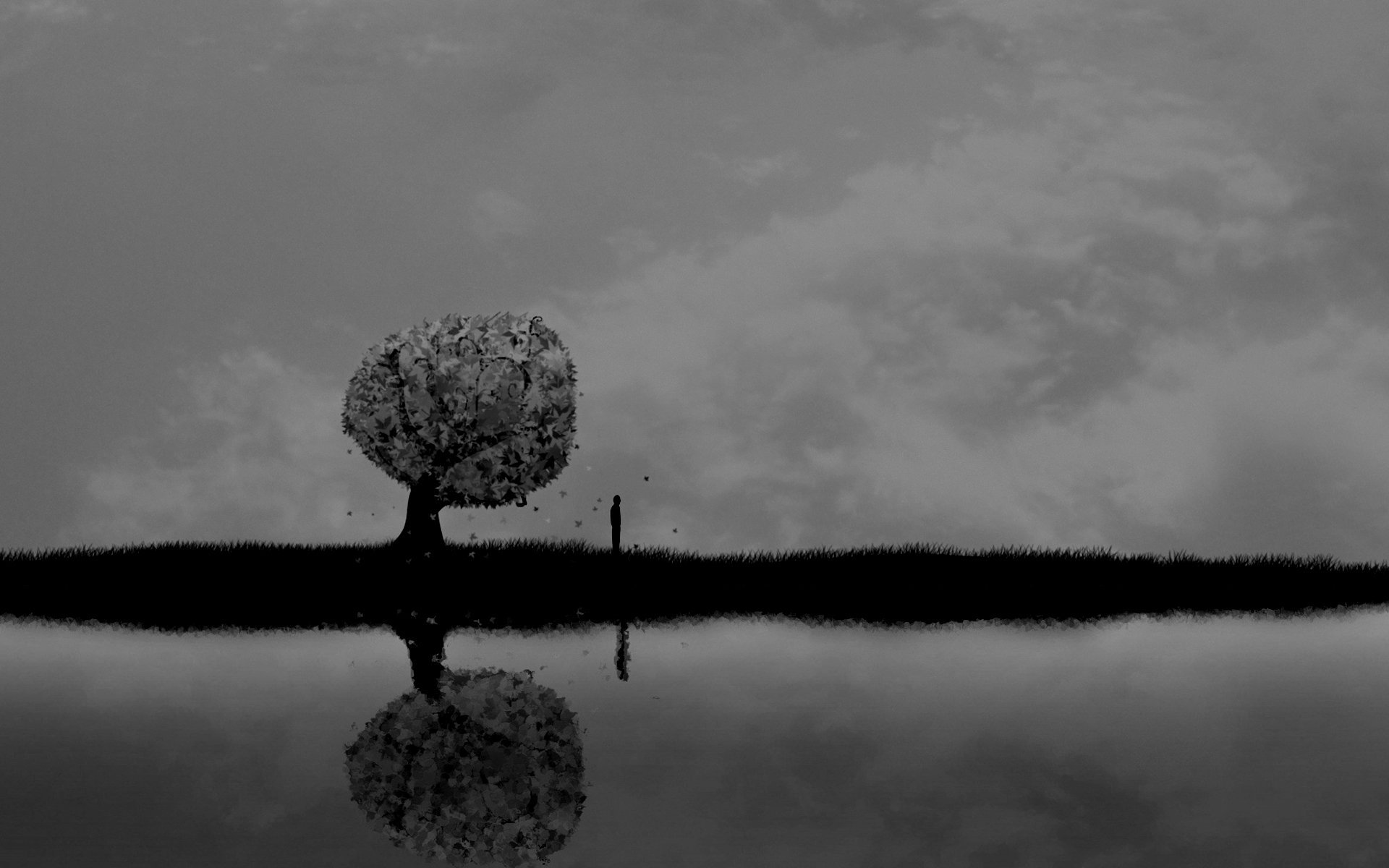 dark Horror Mood Alone Sad Sorrow Vector Art Lakes 1920x1200