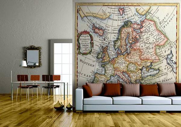 Map Wallpaper In Interior Design InteriorHoliccom 600x422