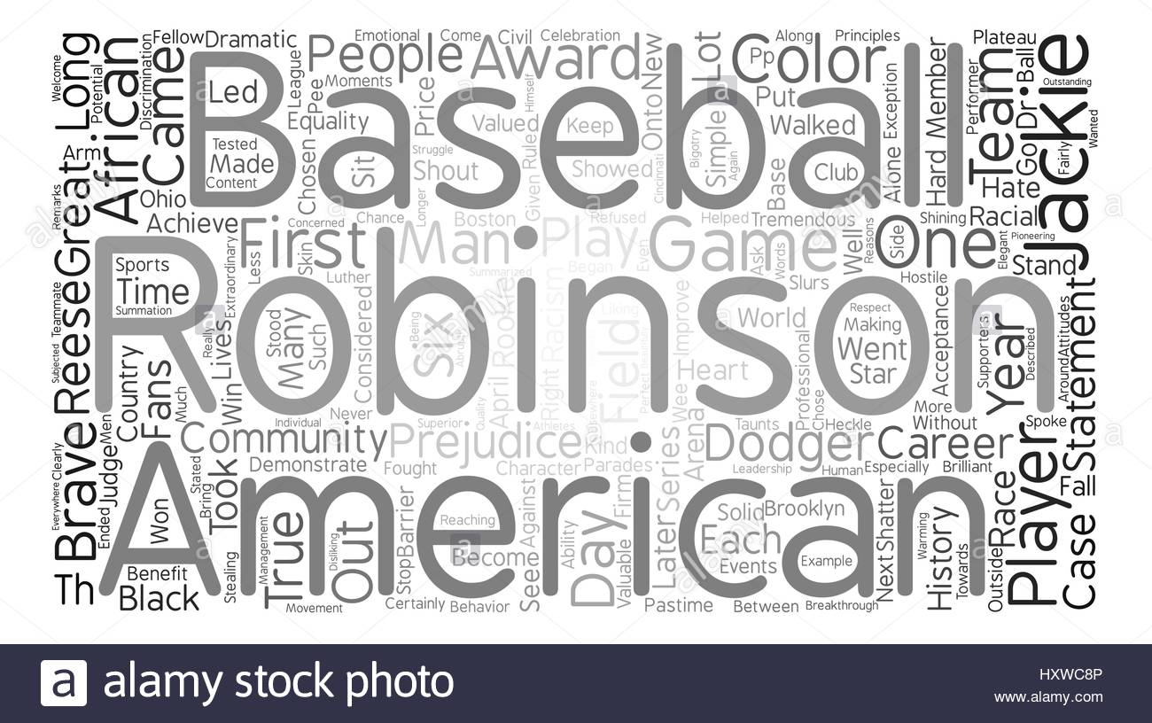 Jackie Robinson text background word cloud concept Stock Vector 1300x816