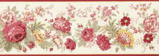 Die Cut Pink and Red Flowers on Green Background Wallpaper Border