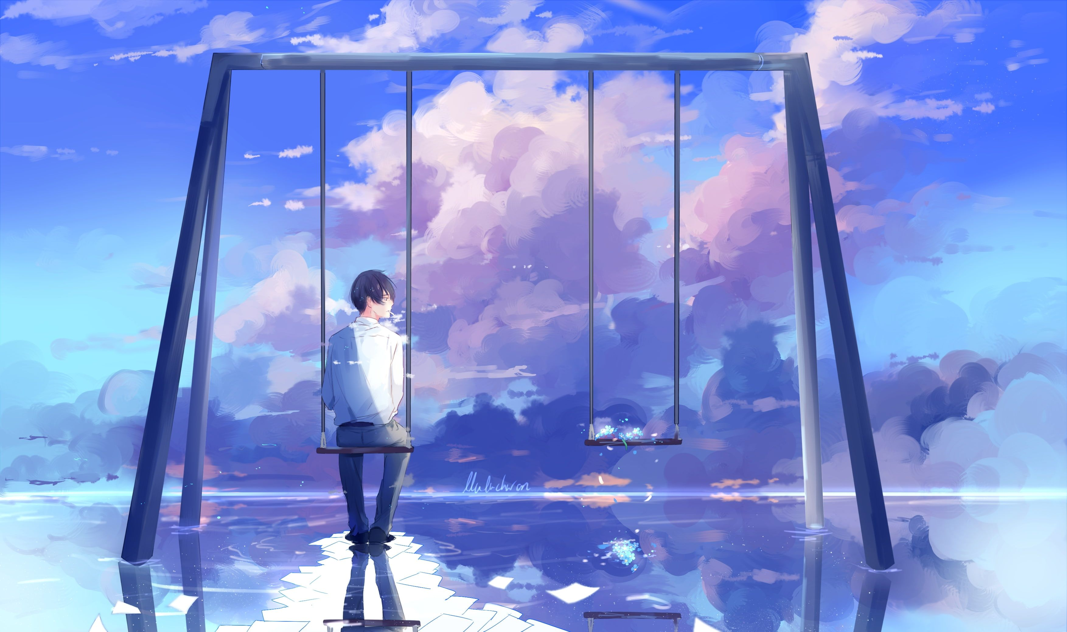 anime boy scenic swing clouds back view reflection Anime 2K 3507x2080