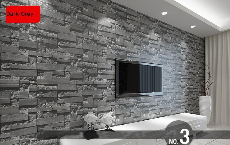 Grey Textured Brick Stone Pattern Vinyl Wallpaper Roll eBay 789x499
