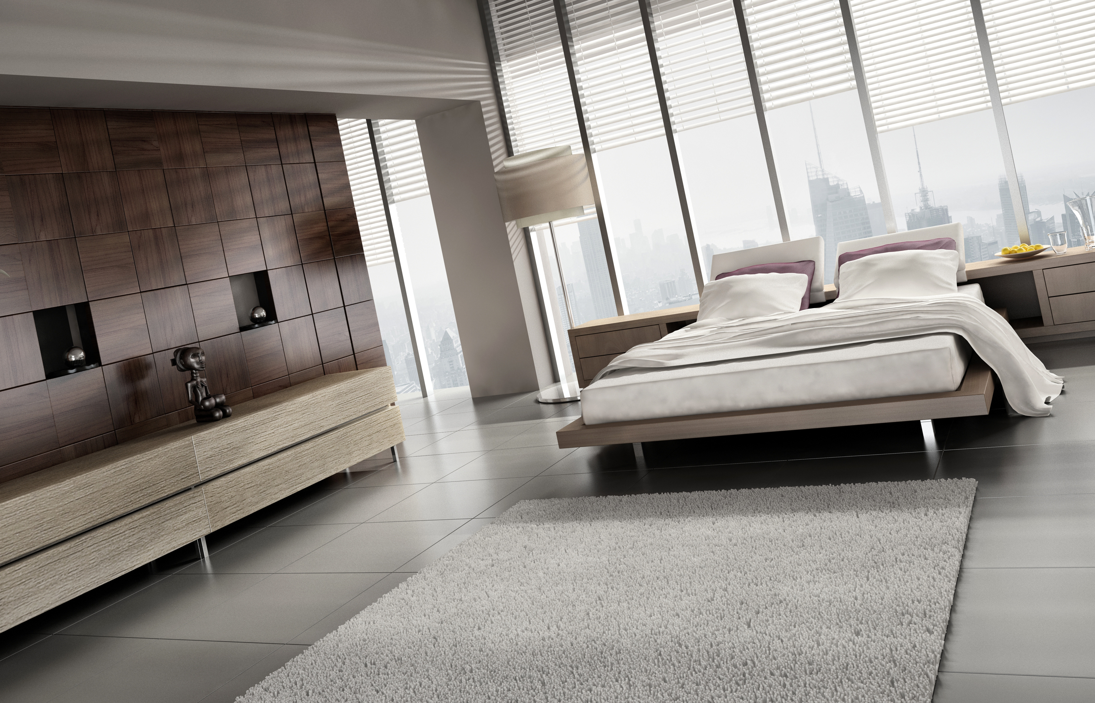 Style White Tone Bedroom Double Bed Fur Carpet HD wallpaper for 3609x2317