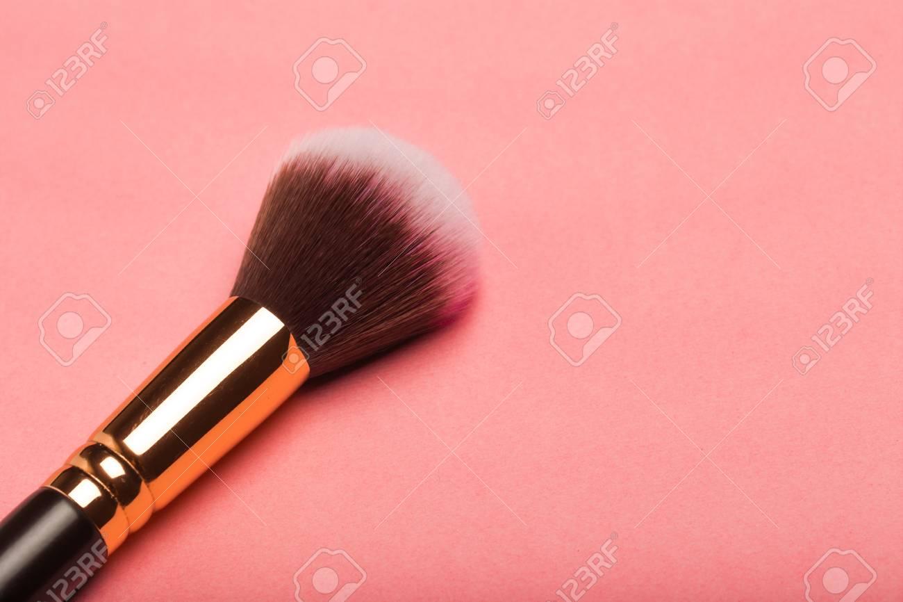 Make Up Brush Rouge Blusher Isolated On Pink Background Stock 1300x866