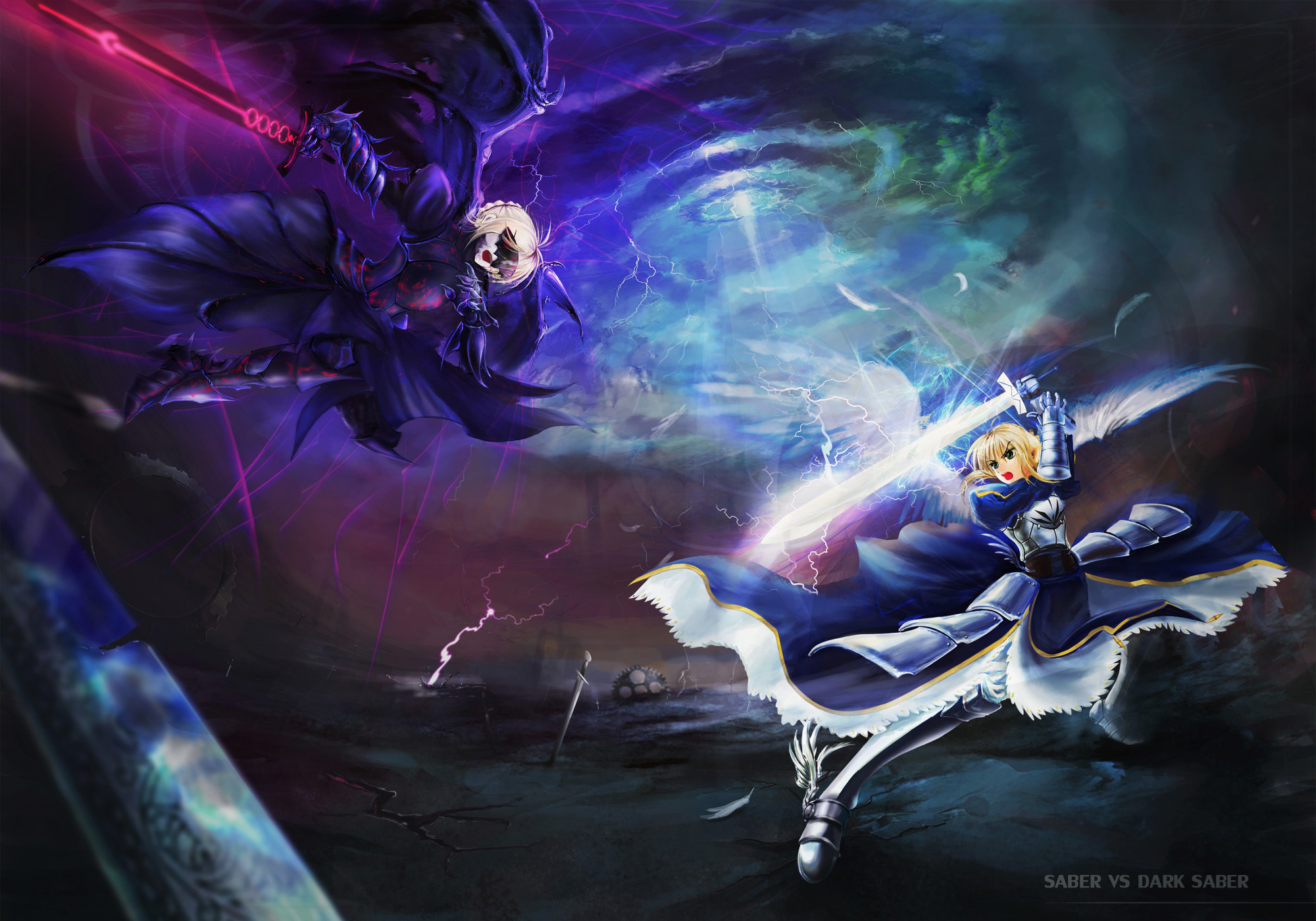 angel armor blonde hair devil fate stay night saber saber alter short 2000x1400