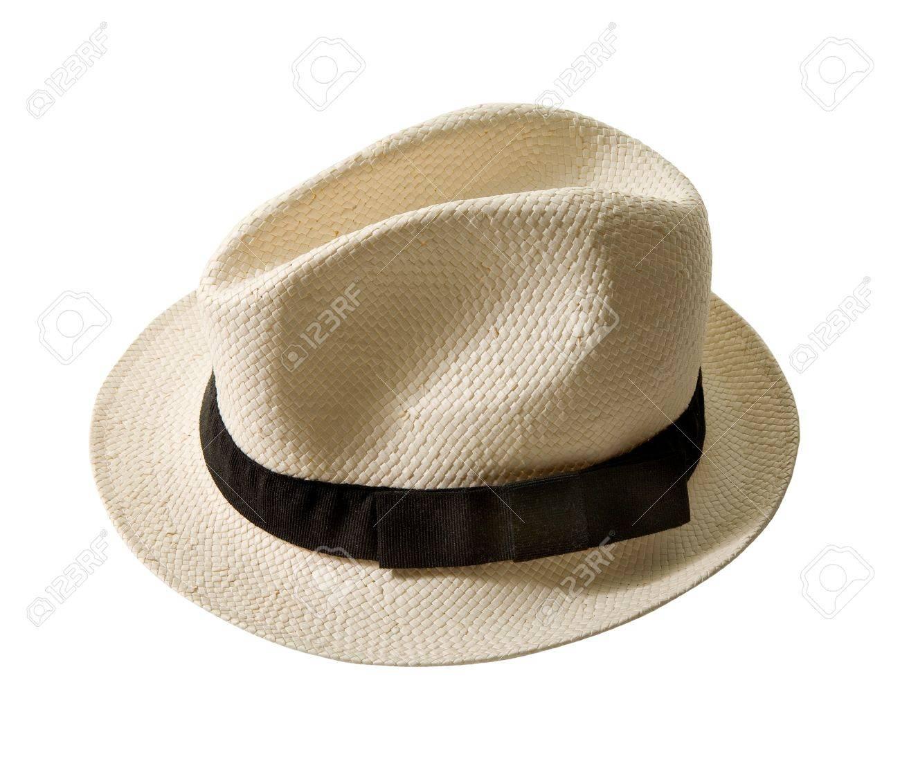 Raffia Fedora Hat With Black Band Isolated On White Background 1300x1113