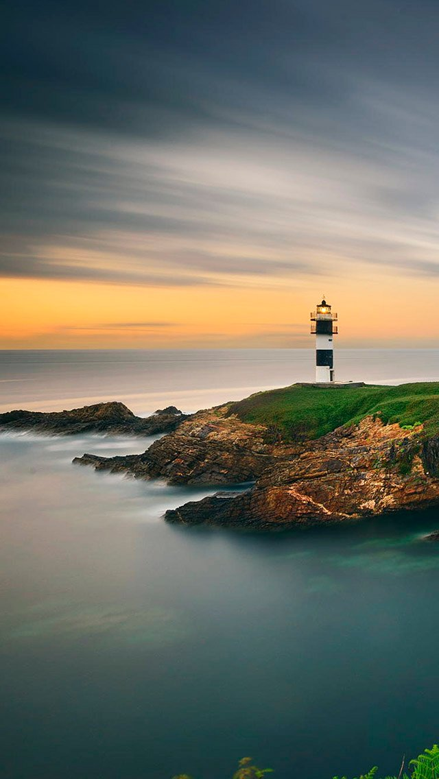 Beautiful Lighthouse Sunset Ocean iPhone 5 Wallpaper iPod Wallpaper 640x1136
