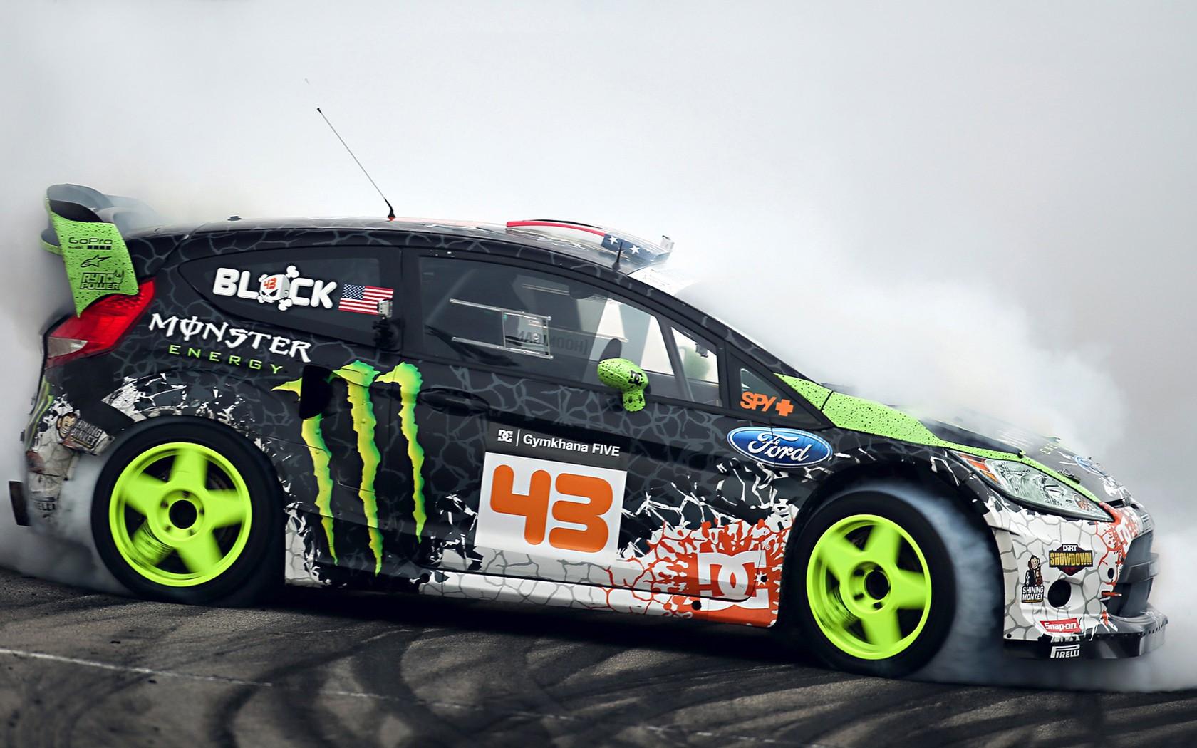 Ford Ken Block Ford Fiesta Monster Energy drifting drift wallpaper 1680x1050