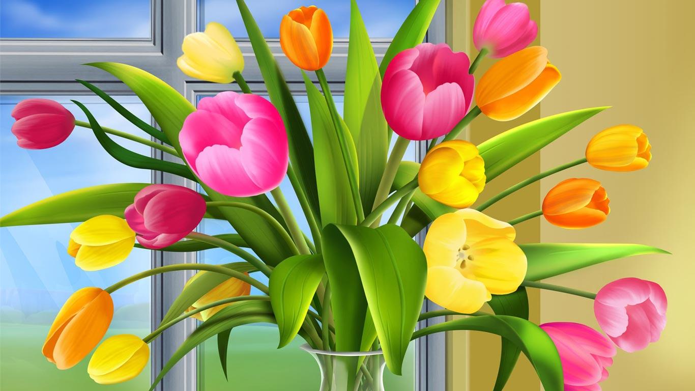 Wallpaper download laptop - Tulips Bouquet 1366x768 Laptop Wallpaper Free Background 1366x768