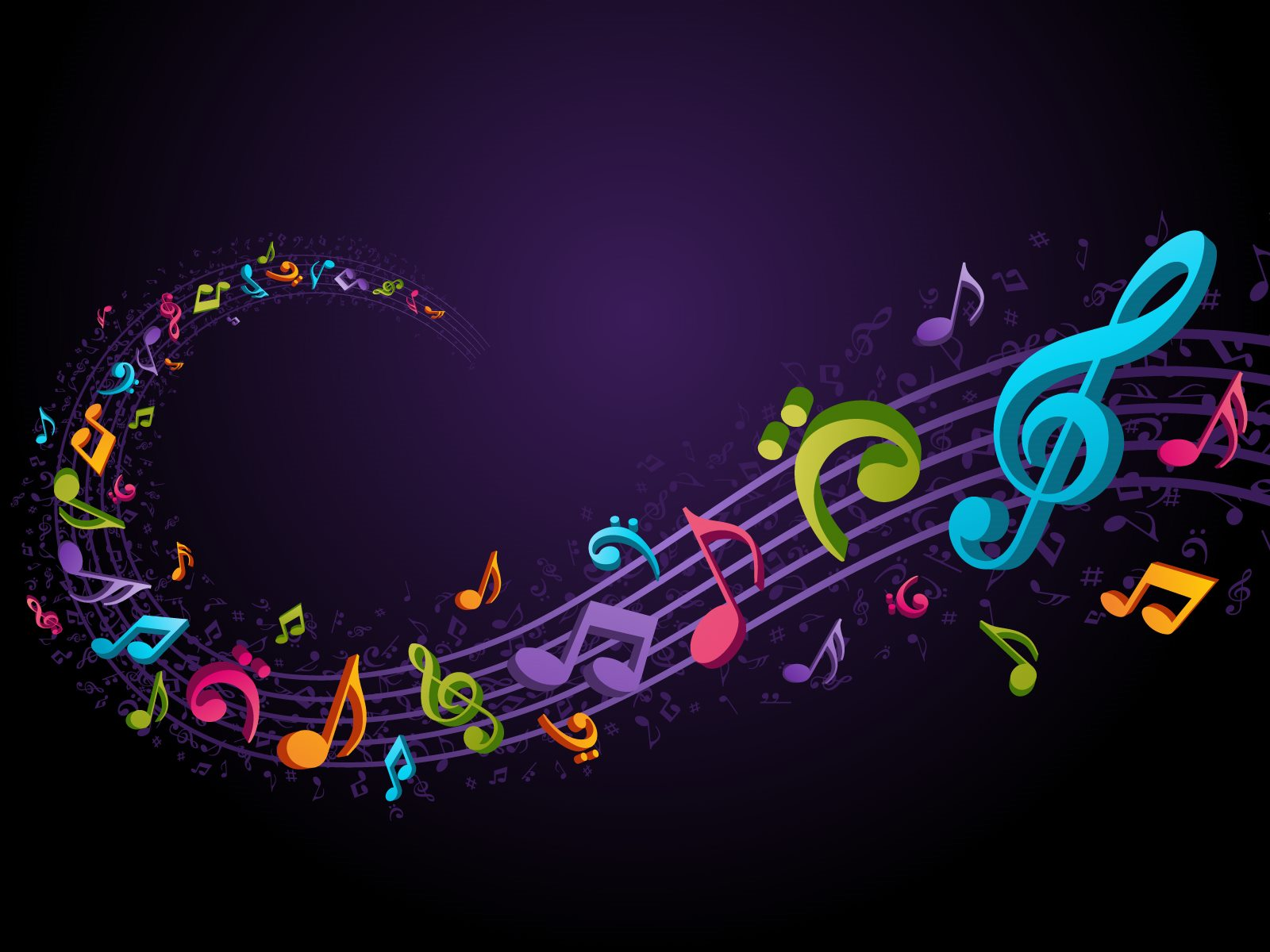 Rainbow Music Notes Background   wallpaper 1600x1200