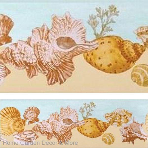 Sea Shell Beach Sand Ocean Beachcomer Wall Paper Border eBay 600x600