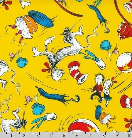 Dr Seuss Cat in the Hat Character Toss Yellow Fabric 5 34 432x452