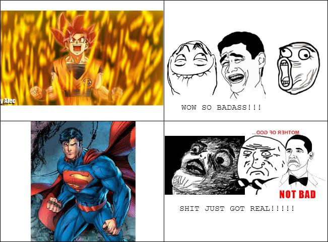 GOKU AND SUPERMAN BEING BADASS by Mordecaiser123 651x481
