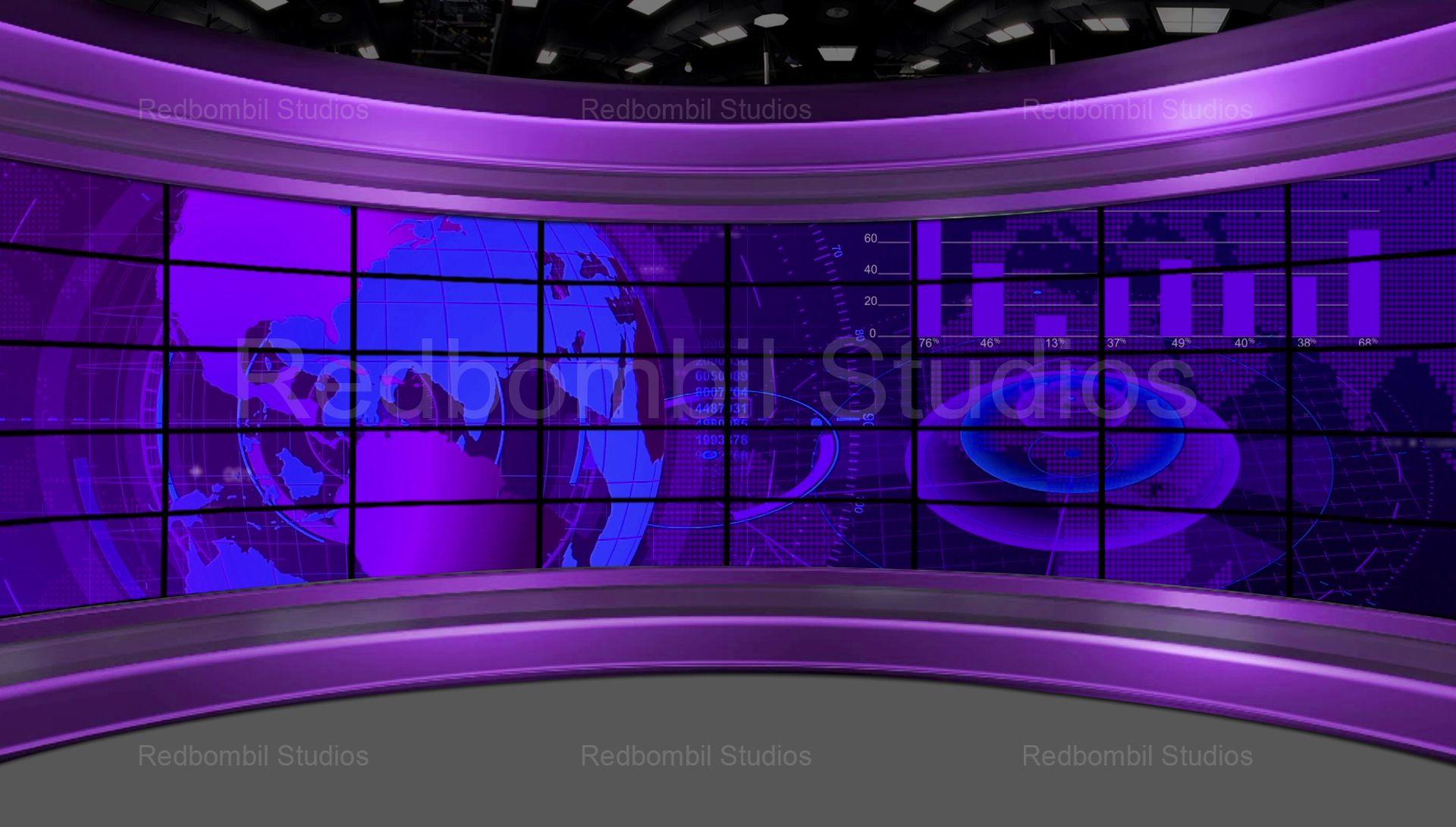 News 35 Broadcast TV Studio Green Screen Background Loopable 1920x1090