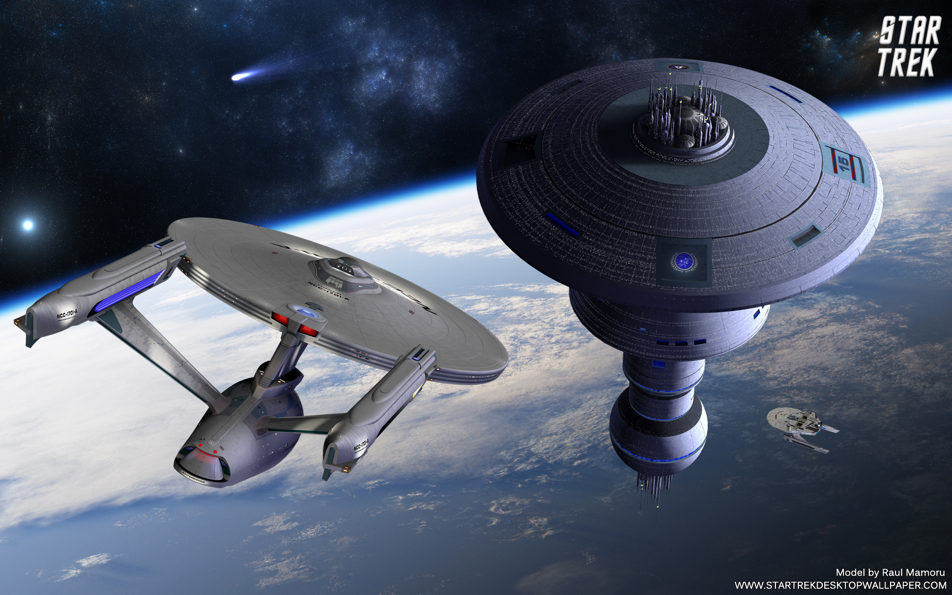 Star Orbiting Earth Federation Spacedock Trek Saver Screen Resolution 1920x1200