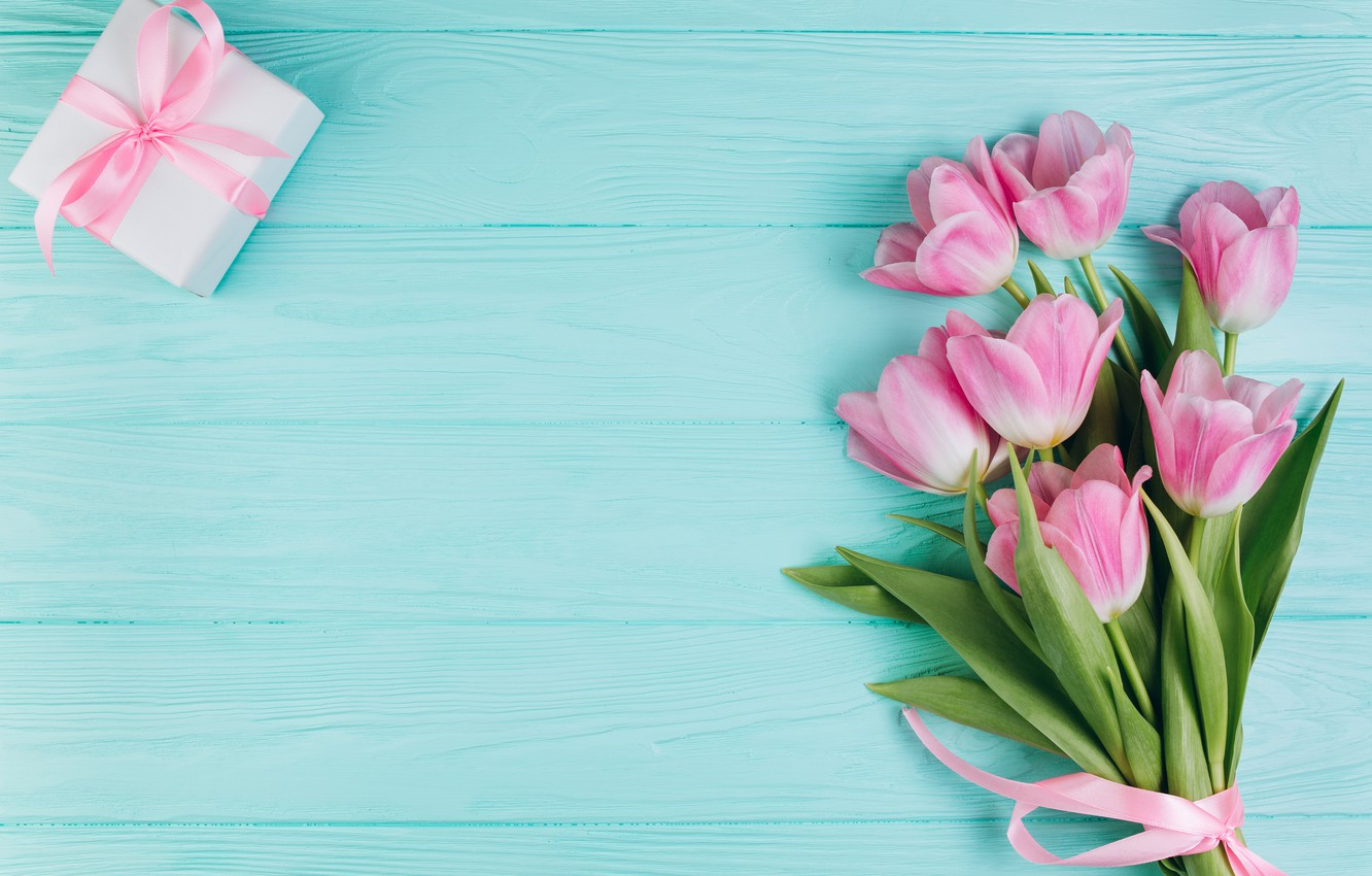 Wallpaper love flowers gift tulips love pink fresh wood 1332x850