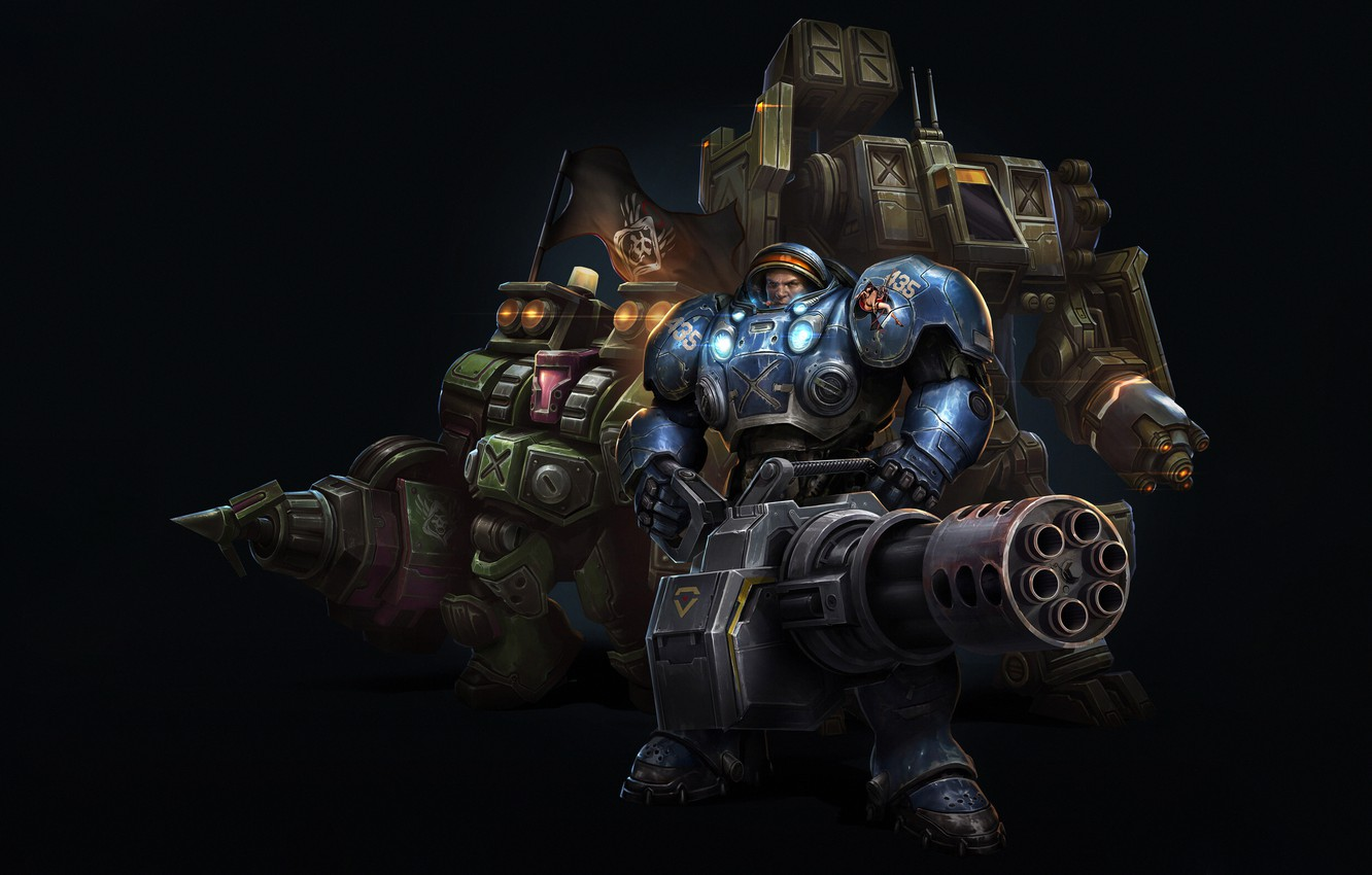 Wallpaper Blizzard Art StarCraft II Commander Space Marines 1332x850