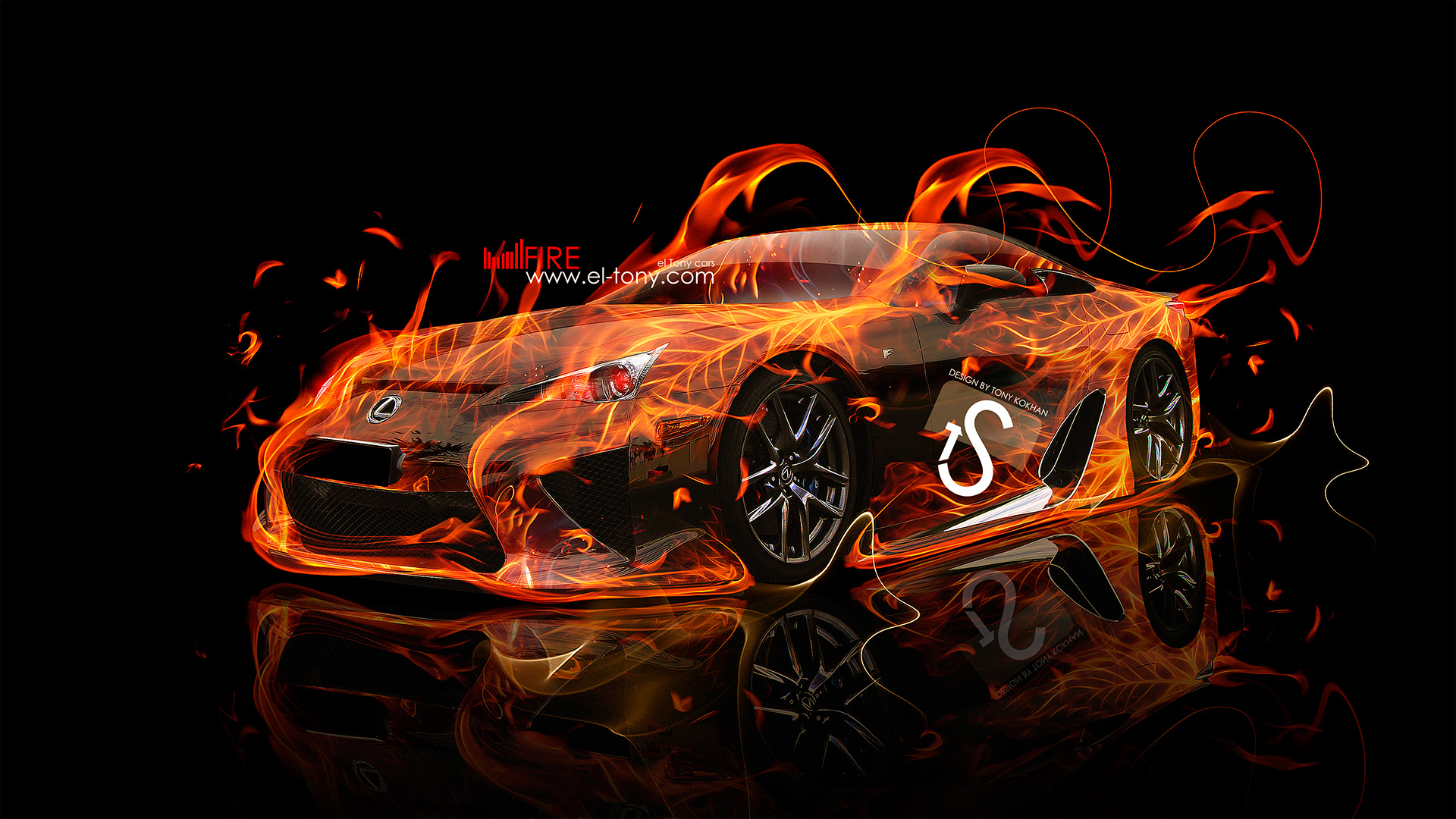 Lexus LFA Fire Car 2013 HD Wallpapers design by Tony Kokhan [wwwel 1920x1080