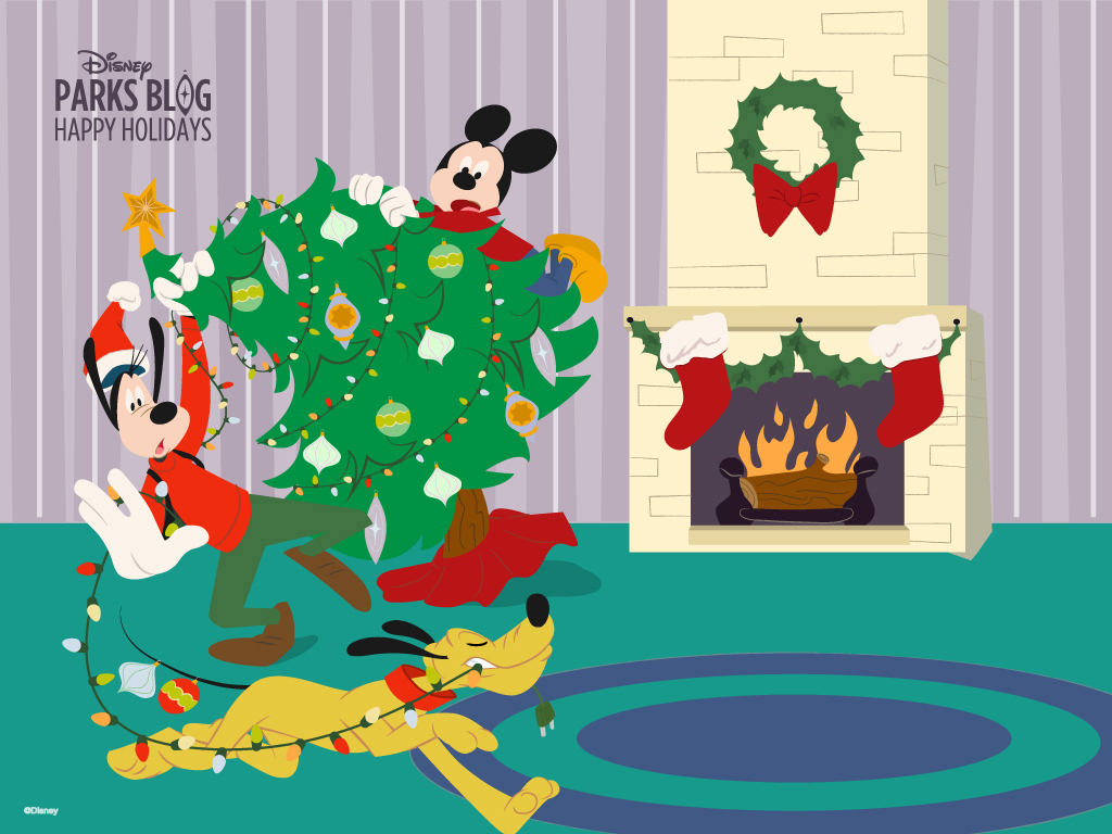 Download Our Happy Holidays Wallpaper Starring Mickey Goofy 1024x768