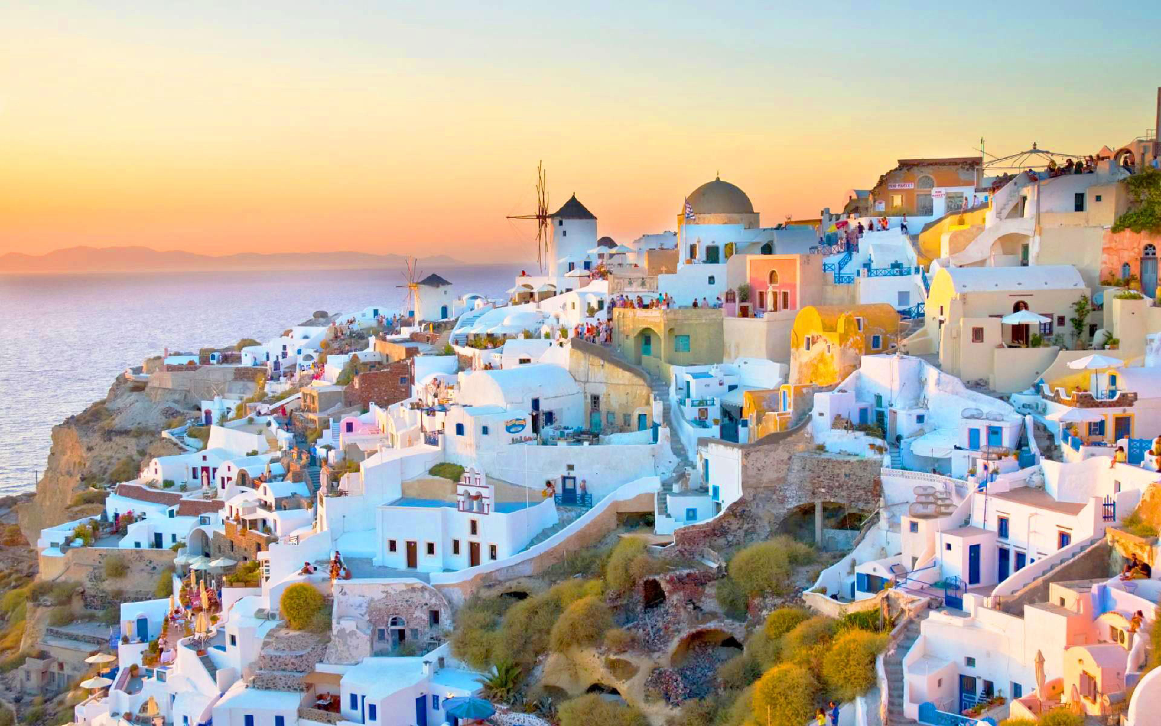 HD wallpaper Santorini Greece Italy landscape city house 3840x2400