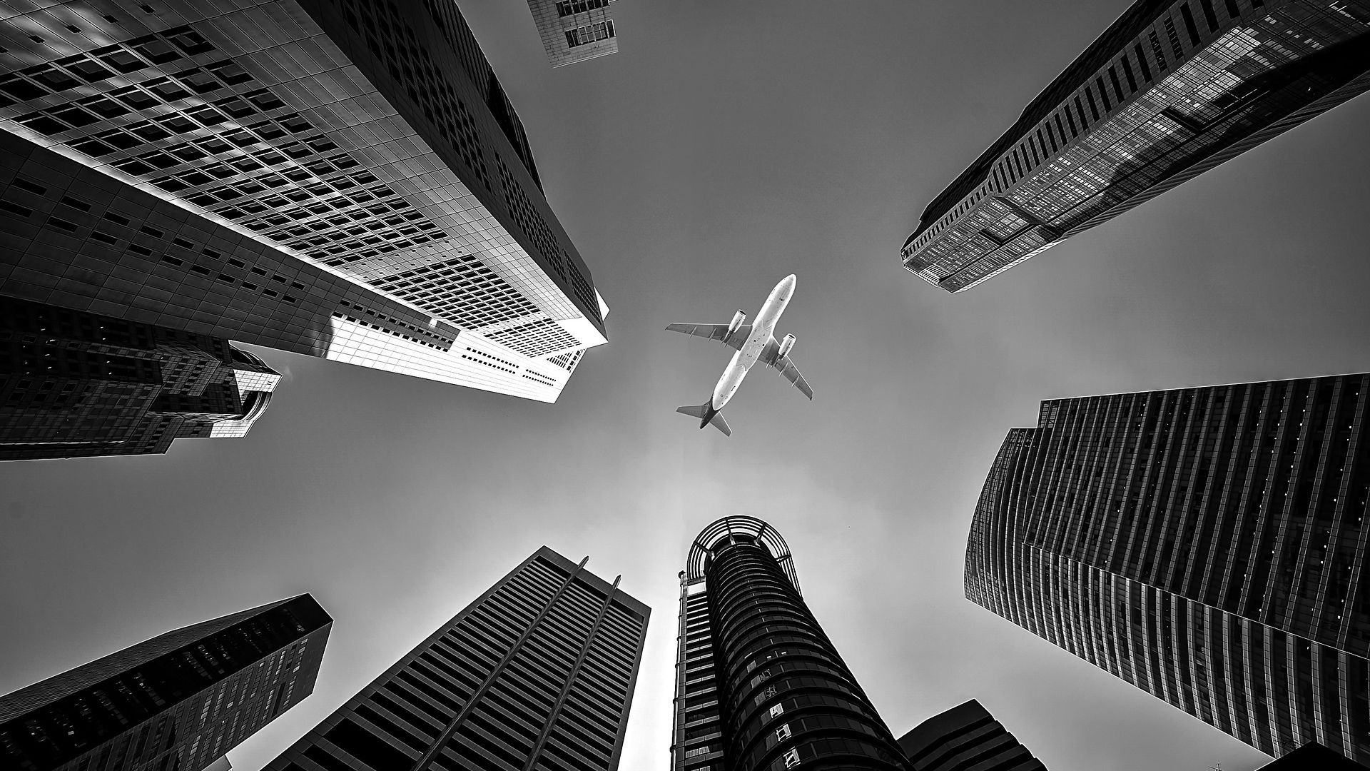 Buildings and Airplane View Wallpaper   Wallpaper Stream 1920x1080