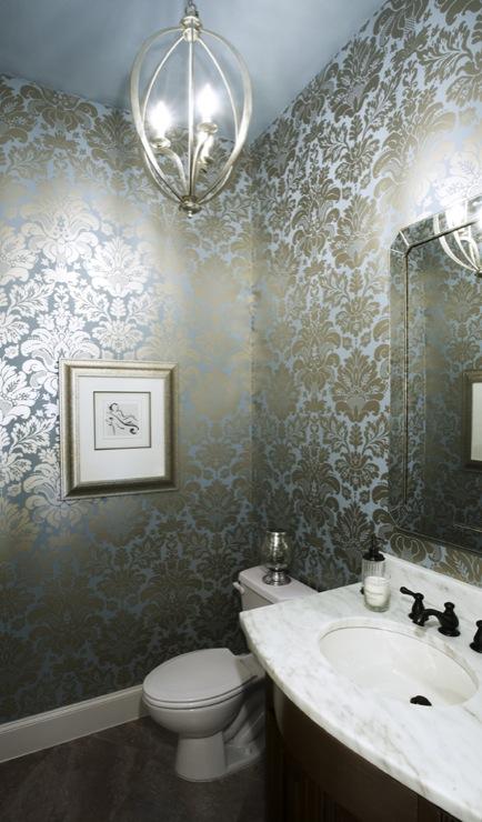 Damask Metallic Wallpaper   Contemporary   bathroom   EJ Interiors 434x740