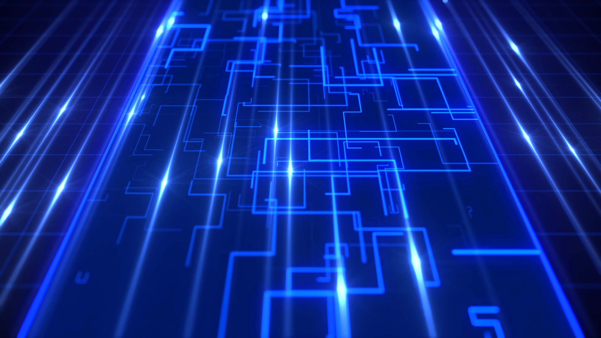 Blue technology flowing data stream digital background Clip 1920x1080