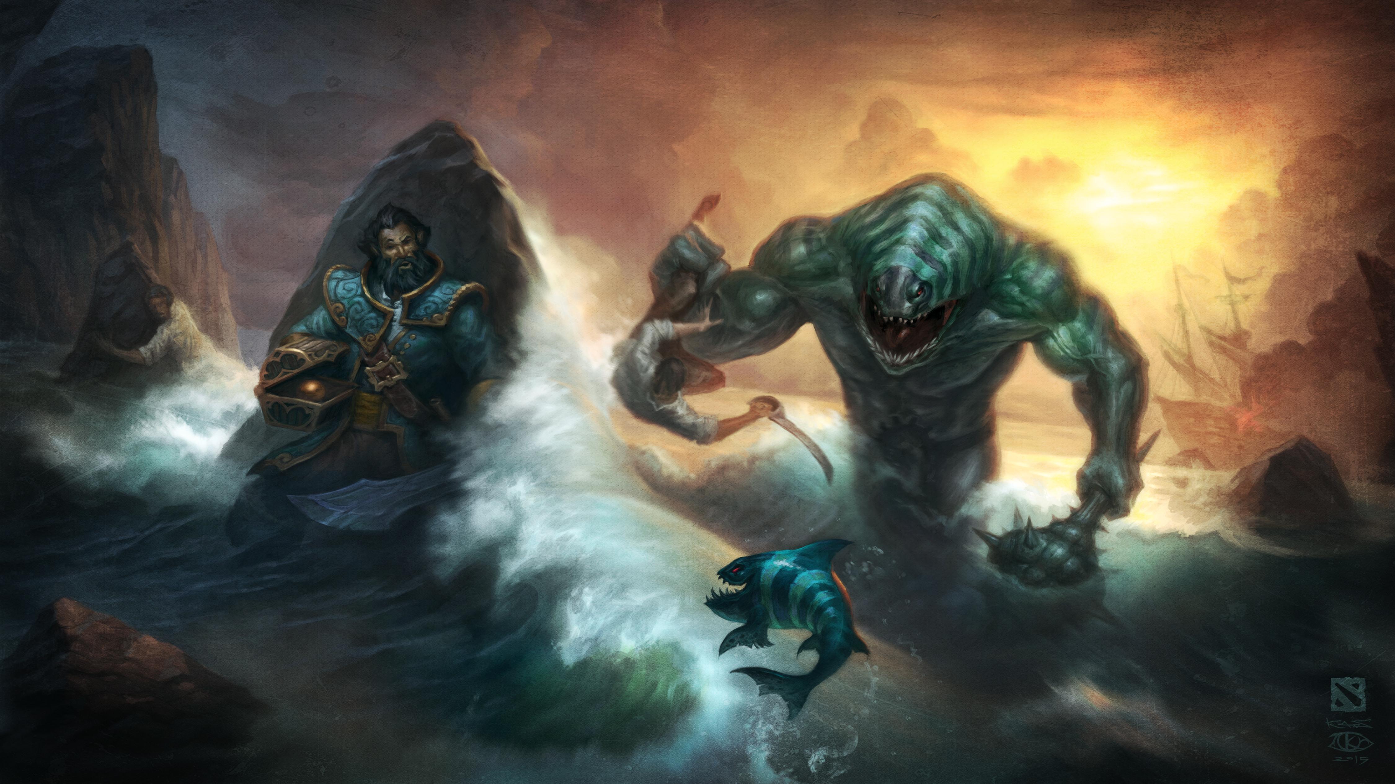 Images DOTA 2 Kunkka Tidehunter Fantasy Games 4500x2531 4500x2531