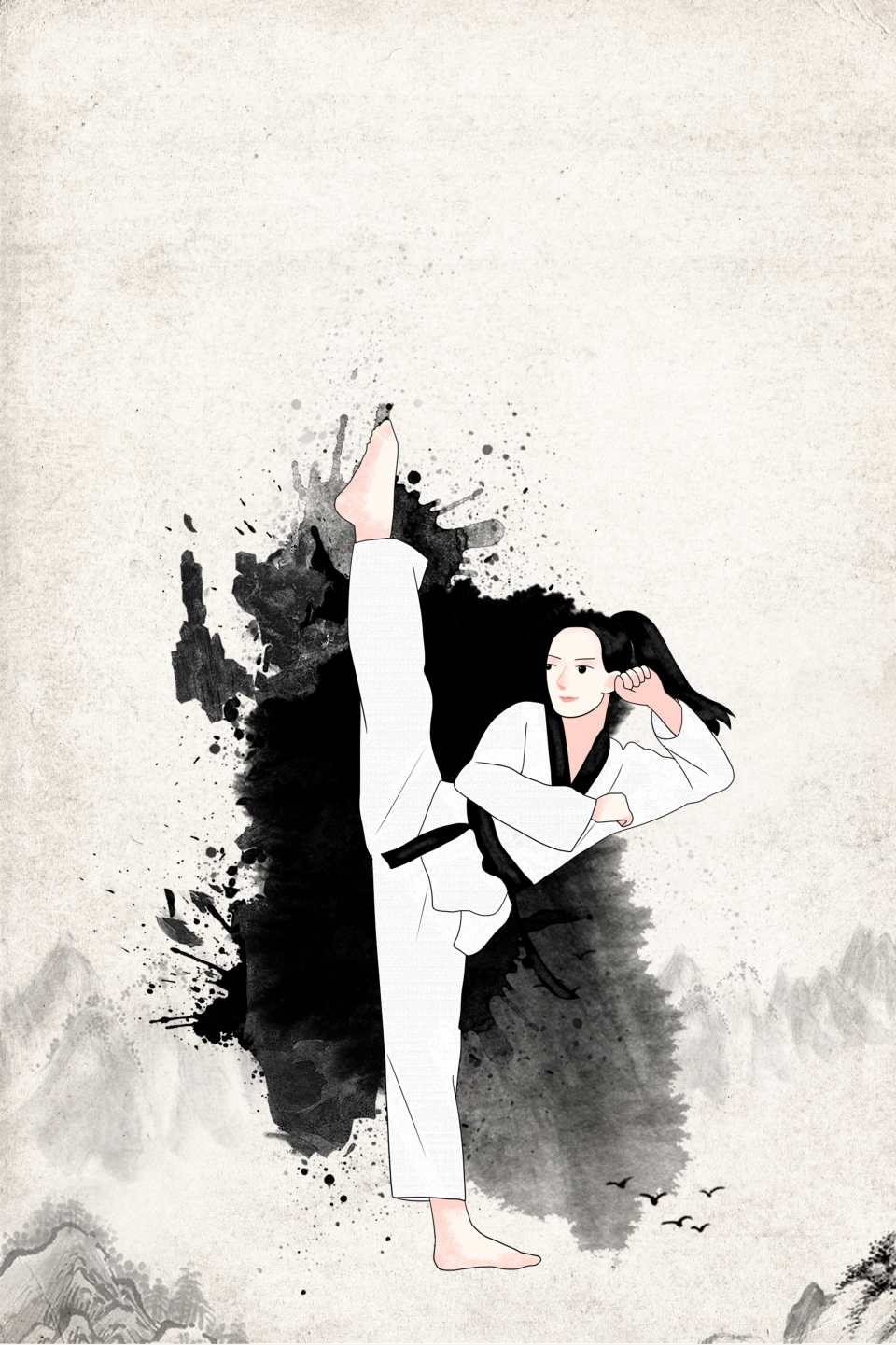 Black And White Antique Traditional Character Taekwondo Martial 960x1441