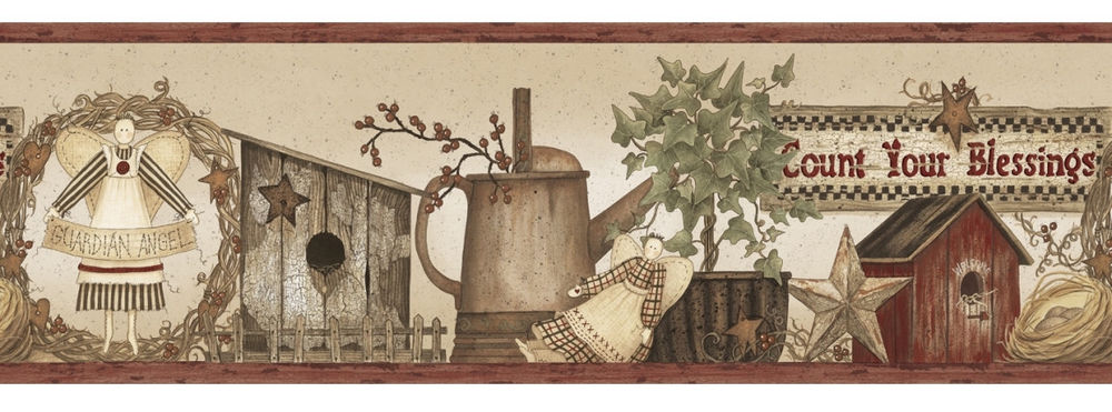 Your Blessings Wallpaper Border Country Primitive Americana eBay 1000x371