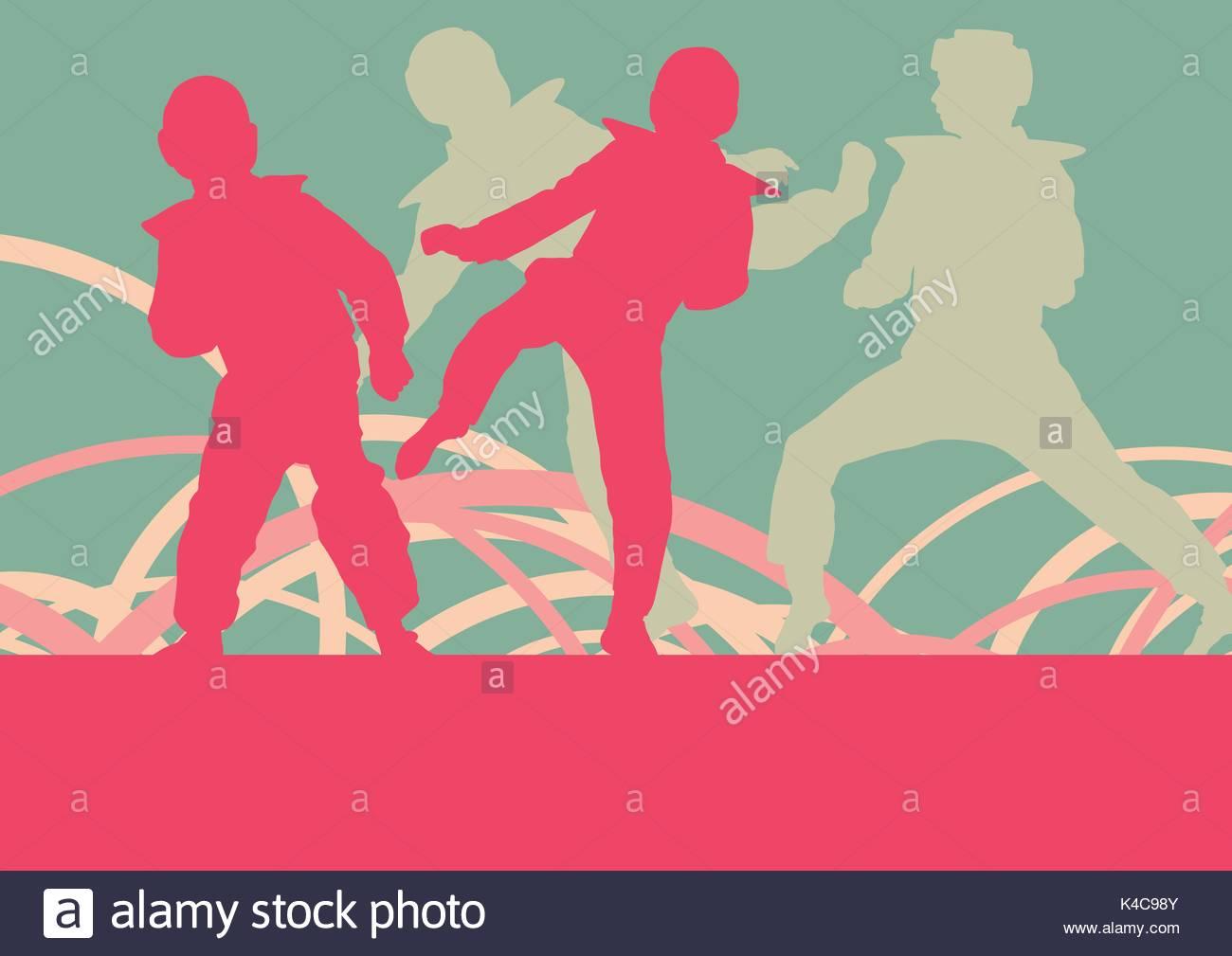 Taekwondo children fight training vector abstract background Stock 1300x1009