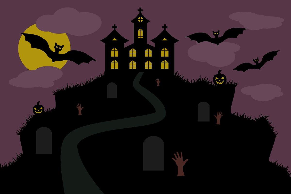 halloween background castle mountain Illustrations Creative Market 1200x800