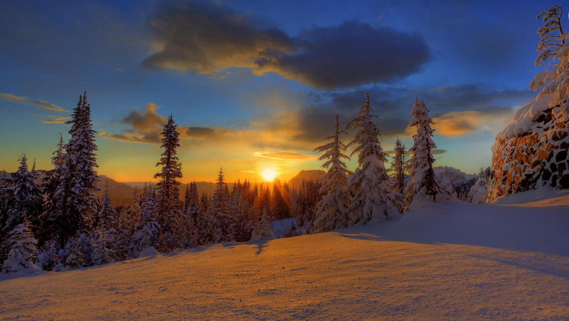 Download Winter Sunset HD Wallpapers for iPhone 5 HD 1136x640