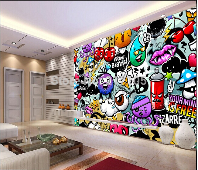 wallpaper colorful graffiti murals for children s rooms living room 652x561