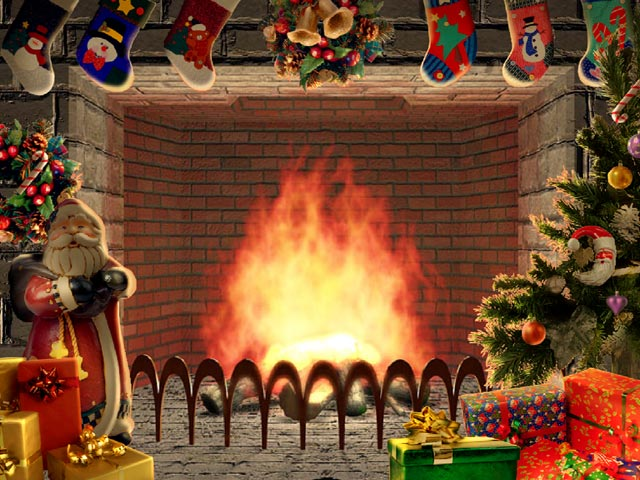 Christmas living 3D fireplace screensaver 640x480