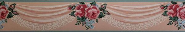 Vintage Wallpaper   Imperial Vintage Wallpaper Border Pink Roses 600x105