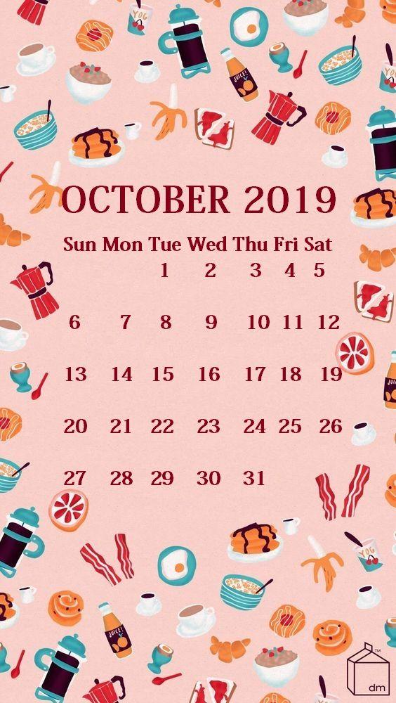 Cute iPhone October 2019 Calendar Background filofax inspiration 564x1000