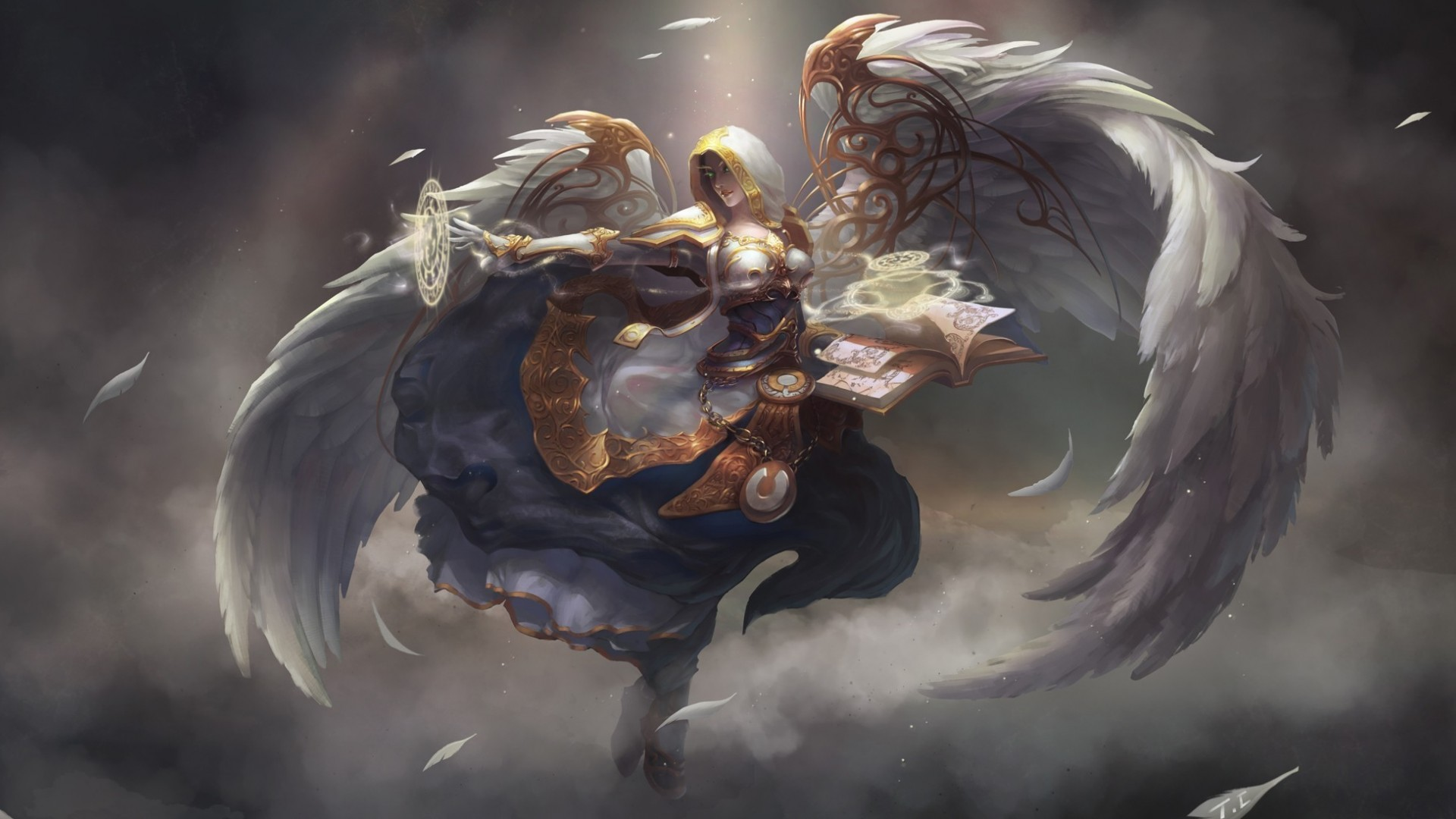 Angel Book Magic Wings wow world warcraft fantasy wallpaper background 1920x1080