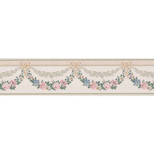 499B69575   Pink Floral Banner Border   by Lucky Day Wallpaper 600x600