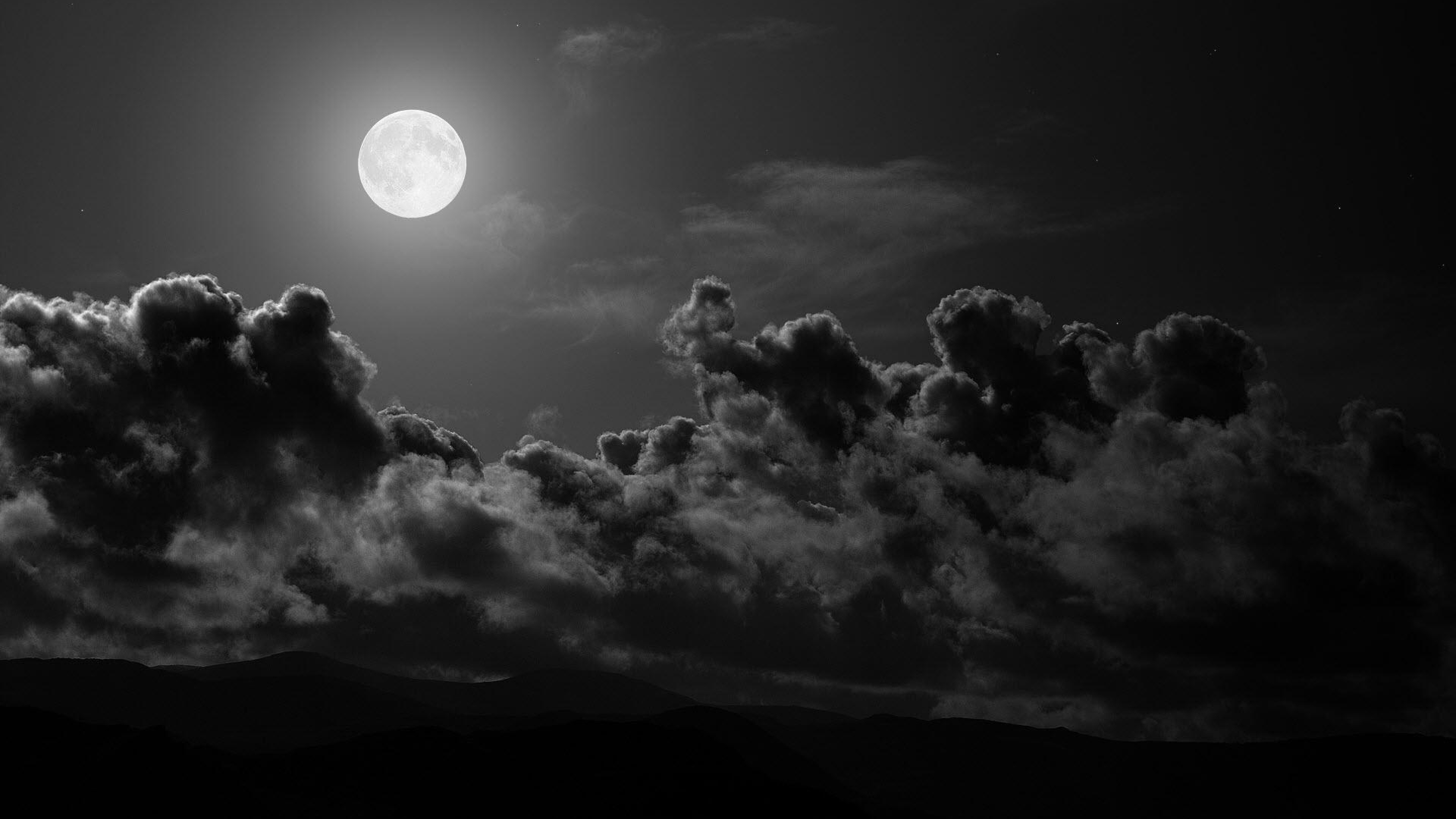Moon Clouds Sky Black and white Wallpaper Background 4K Ultra HD 3840x2160