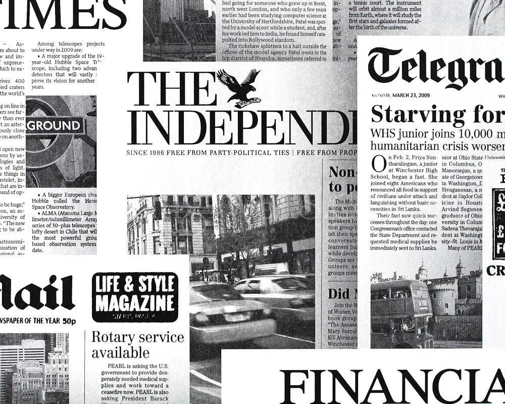Hip Fun newspaper cuttings black and white no3248 1000x800