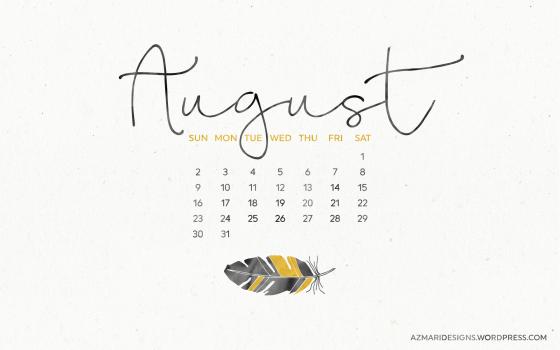 August 2015 Desktop Wallpaper Calendar Azmari Designs 560x350